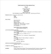 College Application Resume Format
