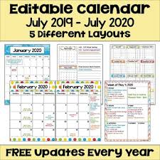 2020 Calendar Editable 2019 2020 Calendar Printable And Editable With Free Updates In Bright Colors