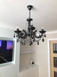 b q black 5 arm chandelier