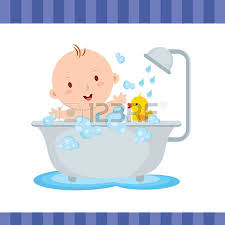shower tub clipart. Happy Baby Boy Bath. Cute Smiling While Talking A Illustration Shower Tub Clipart