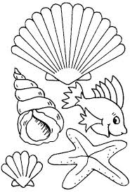 Small Picture Different Types of Sea Creature and Seashell Coloring Page