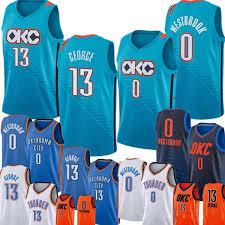 2019 Okc 0 Russell Westbrook Paul 13 George Jersey New Oklahoma 0 City 13 Thunder Basketball Jerseys 2019 Green Orange From Trade_2018 16 25