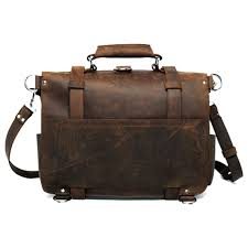 polare men s full grain leather 16 briefcase shoulder messenger bag fit 15 6 laptop
