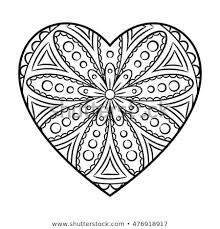 Doodle Heart Mandala Coloring Page Outline Stock Vector Royalty