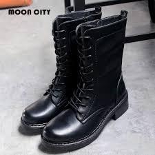 senarai harga women s boots women mid calf boots female black leather boots autumn winter fashion