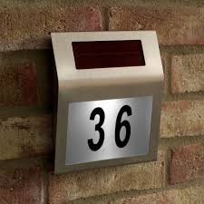 Decorating apartment door numbers pictures : Stainless Steel 3 LED Solar Powered Wall Light LED Doorplate Lamp ...