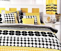 black white and yellow bedding modern bedroom with geometric