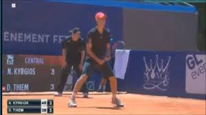 Nick kyrgios claimed the opening two sets but was unable to prevent world number three dominic thiem from nick kyrgios plays a backhand return against dominic thiem. Nick Kyrgios Vs Dominic Thiem Highlights Nice 2015 Youtube