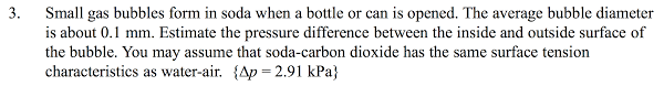 bubbles form solved small gas bubbles form in soda when a bottle or ca