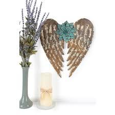 flower angel wings metal wall decor
