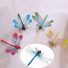 dragonfly 3d wall stickers fridge stickers room wall decoration 8 pieces random color