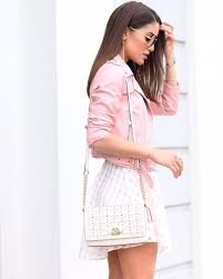 this cropped pink jacket is a wonderful alternative to a classic black biker jacket camila