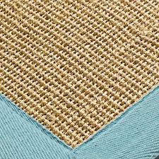 sisal rugs natural aqua border