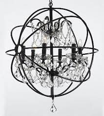 foucault s orb wrought iron crystal chandelier 6 lights lighting country french