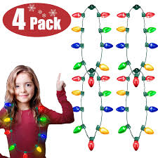 Battery Christmas Light Necklace 4 Pack Christmas Lights Necklace Led Bulb Necklace Flashing String Light Necklace Xmas Decoration Light Up Toy Party Favors Glow In The Dark Costumes