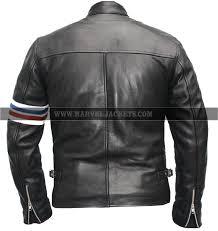 easy rider retro peter fonda american biker striped black real leather jacket