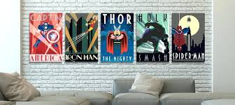 comic book heroes canvas prints wall art marvel wooden man cave