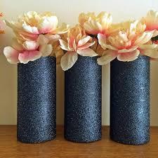 3 navy vases glass vases glitter vases wedding centerpiece birthday party decor wedding vases bridal shower party decorations