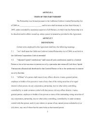 Limited Partnership Agreement Template Sample California Limited Partnership Agreement