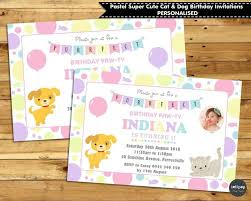 cats dogs personalised invitations invite 1st first birthday party