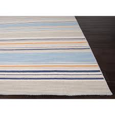 blue and orange striped rug