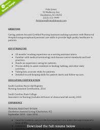 Certified Nursing Assistant Sample Resume Certified Nursing