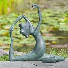 limber yoga frog garden statue only