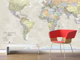 giant world map mural classic home decor living room image