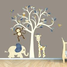 baby boy wall decals cream tree decal denim color boy room wall decal jungle animal decal