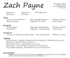 Sample Musical Theatre Resume 1080 Player