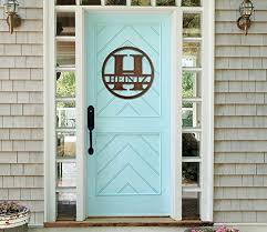 monogram front door circle last name initial door decor hanger wood