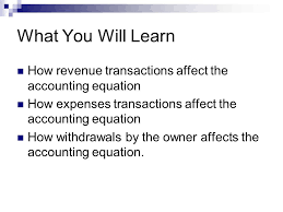 what you will learn how revenue transactions affect the accounting equation how expenses transactions affect