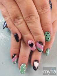 gel nail designs for fall 2014. black, pink and mint green gel nail art designs for fall 2014