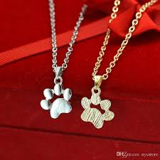 whole metal alloy cute animal cat paw feet necklace gold silver dog claw paws shaped pendant necklace women girl s fashion jewelry mens necklaces silver