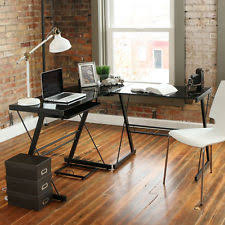 Glass Corner DesksL Shaped Desks Home Office Furniture eBay