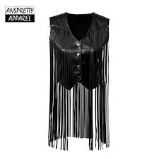 2019 anspretty apparel faux leather vest women 2018 tassel vest fringes sleeveless jacket vintage black tops from kennethy 24 77 dhgate com