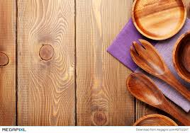 Wood Kitchen Utensils Over Wooden Table Background Stock Photo