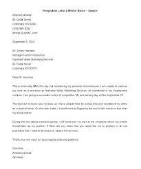 One Week Notice Resignation Letter One Week Resignation Letter Elisabethnewton Com