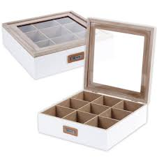 details about white shabby chic 9 section wooden tea box clear lid multi storage compartments