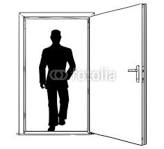 cartoon stick man drawing conceptual ilration of open modern door and businessman silhouette walking through or