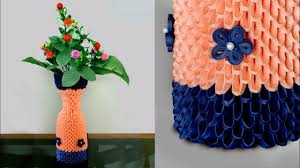 Flower Vase With Paper Handmade Paper Flower Vase 3d Origami Flower Vase Diy How To