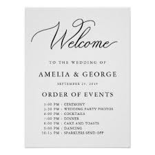 Welcome Order Of Events Wedding Sign Zazzle Com In 2019