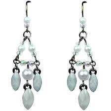 chic fashion jewellery white teardrop rhinestone costume pearl bead chandelier drop earrings loading zoom