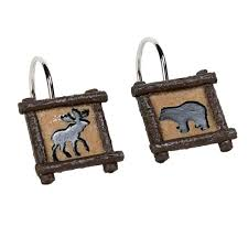 wooded river lodge shower curtain hooks