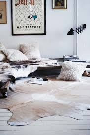 Entrancing Home Interior Decoration With Cowhide Rug : Entrancing Ideas For  Bedroom Decoration Using Cowhide Rug