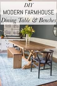 farmhouse meets modern table and benches