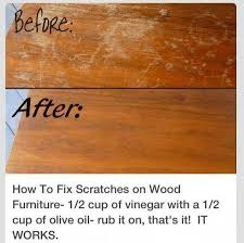 how to fix scratches on wood furniture 1 2 cup of vinegar with a 1 2 cup of olive oil rub it on that s it