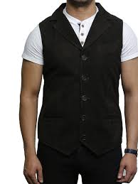 mens leather waistcoat from smooth exclusive goat suede classic smart brown leather waistcoat