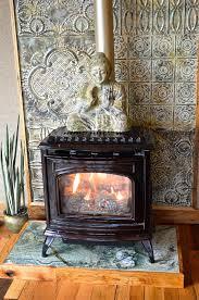 fireplace tin backdrop finished