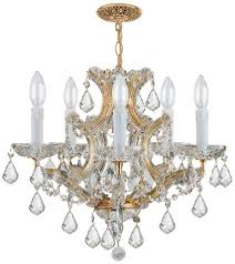 crystorama maria theresa 6 light clear italian crystal gold mini chandelier